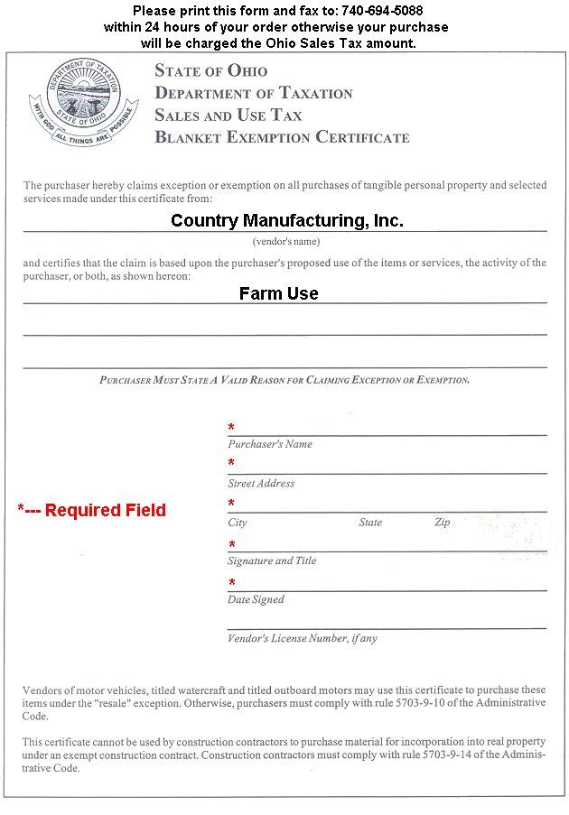 CMI Ohio Tax Exemption Form